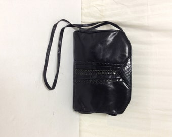 Barbara Bolan, Italy,leather Purse ,black Leather, Snake skin ,Shoulder Bag