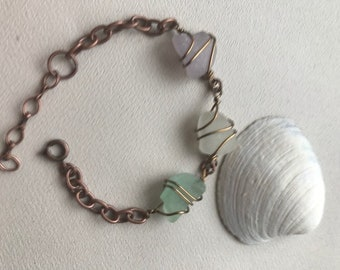 Copper Sea Glass Bracelet