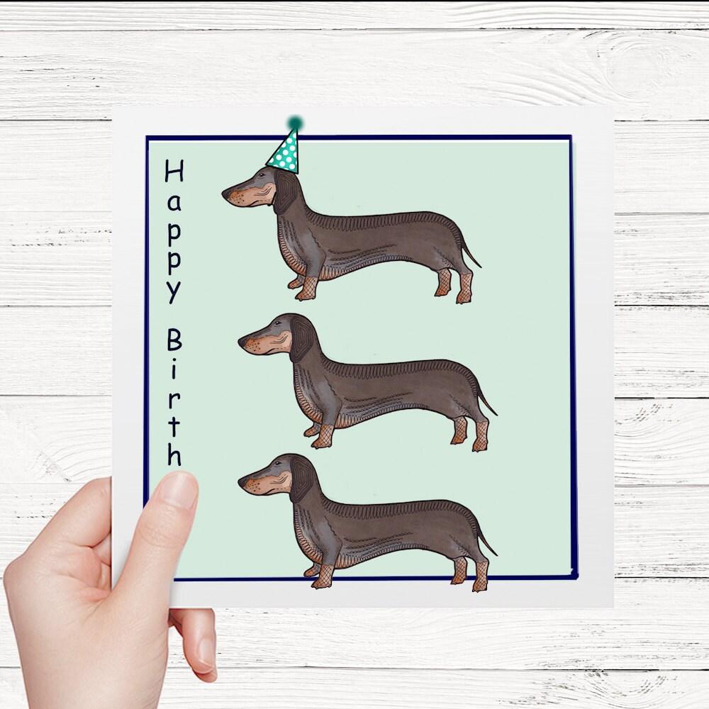 Dackel Geburtstagskarte. Dackel-Karte Dackel