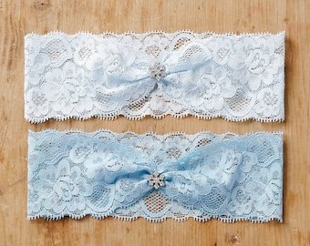 Something blue wedding garter, snowflake lace garter, winter wedding - style #474