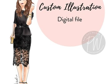 Watercolor Custom Illustration, fashion illustration, watercolour illustration, printable art, digital download