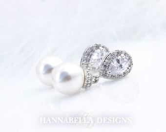 Victoria - Wedding Pearl Earrings, Bridal CZ Earrings, Crystal Drop Earrings, Vintage Wedding Jewelry, Cubic Zirconia, Bridesmaids Earrings