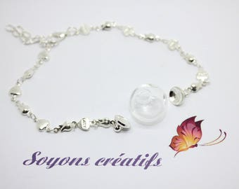 1 support bracelet silver heart Globe 16mm - A customize