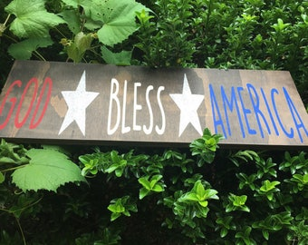God Bless America 8x24 hand painted wood sign.