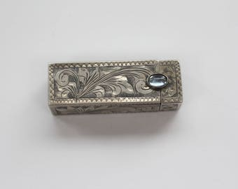 Sterling Silver Lipstick Holder, Vintage Lipstick Case, Blue Stone Clasp, Silver Compact Case, .800 Sterling Silver, Collectables. Gift.