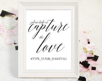 2018 SALE: Wedding Instagram Sign, Capture the Love, Instant Download, Wedding Sign, Wedding Hashtag Sign, Printable Wedding Sign, 8x10, 5x7