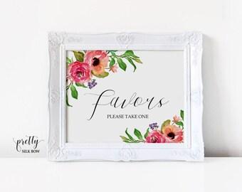 Wedding Favor Sign, Favors Sign, Printable Wedding Sign, Instant Download, Wedding Reception Sign, Calligraphy, PDF, JPG (Brooke)