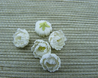 Peony White Flowers, Miniature Flower Polymer Clay, Flower Beads, White Flowers, 5 pieces