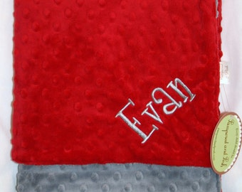 Personalized Monogrammed Red and Silver Minky Crib Blanket
