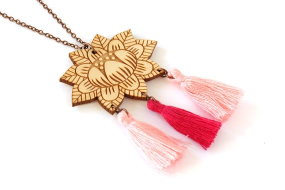 Wooden flower necklace with 3 tassels - fuchsia and baby pink - lasercut wood pendant - vegetal jewelry - folk jewellery - floral accessory