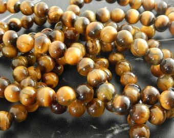 perles Oeil de Tigre  8mm lot de 10 ou 47 perles