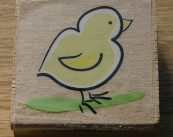 NEW - Spring Chick Rubber Stamp Yellow Easter Chicken Bird Springtime Spring Cute Birdie Adorable Animal Wood Mounted Feathers Baby Egg