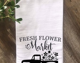 Farmhouse Fresh Flower Market Vintage Truck Kitchen Flour Sack Tea Towel, Farmhouse Kitchen Towel, Vintage Kitchen,  Multiple colors