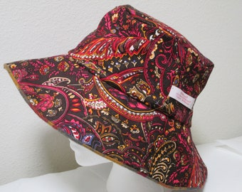 """Bucket Hat 24"""" XLarge Paisley hat,  Fall colors, corduroy hat, plaid flannel hat, chocolate"""