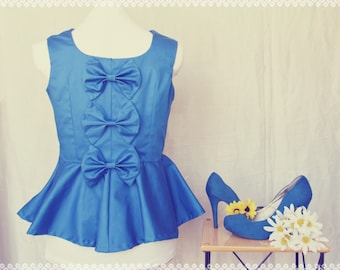 Blue Bow Back Beauty Peplum Top - Bow Back Top, Royal Blue Peplum Top, Dressy Top, OOAK Top in Size Medium/Large