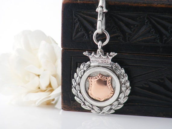Antique Medal   Rose Gold & Sterling Silver Antique Medallion   1932 English Hallmark   Silver Medal with Fob Clip - 30 Inch Sterling Chain