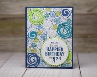 Swirly Happy Birthday Card
