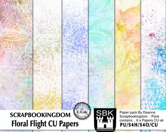 FLORAL FLIGHT commercial Use scrapbook paper pack CU Ok Subtle floral design 6 digital scrapbooking papers for personal or Commercial use