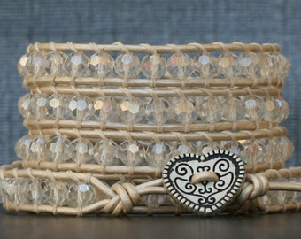 crystal wrap bracelet- aurora borealis clear crystal on pearl white leather - boho wedding gypsy bohemian
