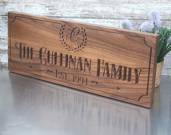 Custom Engraved Family Name Wood Sign, Personalized Wooden Plaque, Rustic Wedding Sign, Engraved Name Sign, Benchmark Signs, Walnut BA