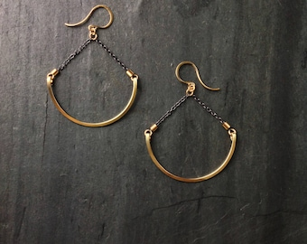 Large Gold Fill Hoop Earrings, Bow, Loop Jewelry, Goldfill, Sterling Silver, Black Chain, Geometric, Deco, Portland Jewelry, Black and Gold