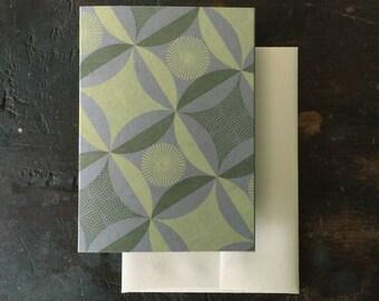 Robbing Peter Letterpress Notecard - Lemon and Olive on Gray