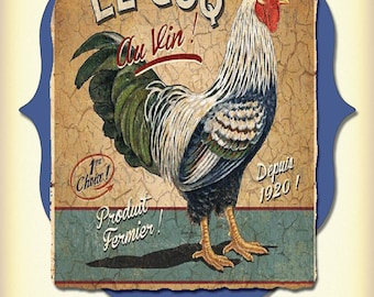 Vintage Feed Sack Art Print - Chicken Le Coq 1