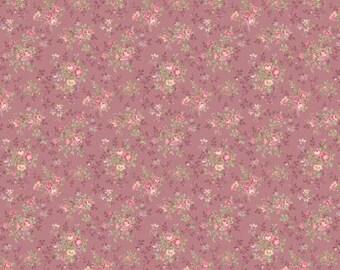 Ruru Bouquet Prima  Cotton Fabric Quilt Gate RU2260-17C Small bouquets on Dark Pink