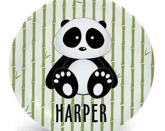 Panda Plate - Melamine Bowl or Plate Custom Personalized with Childs Name