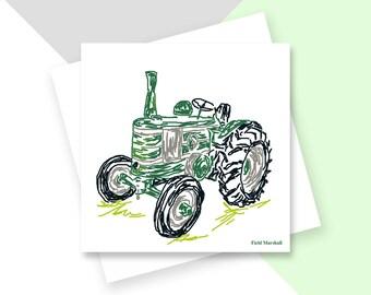 Vintage tractor greetings card