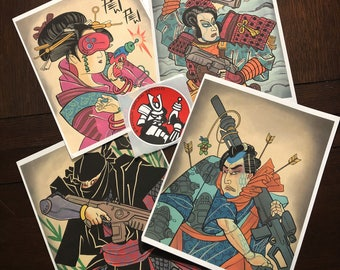 Raygun Samurai print set (all 4)