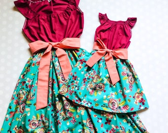 Mommy and Me Dresses - Mother Daughter Outfits - Mother Daughter Dresses - Matching Dresses - Floral Dresses - Mothers Day Gift - Teal