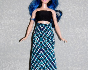 Curvy Barbie Maxi Skirt A4B165 fashionista fashion doll clothes green/black READY To Ship