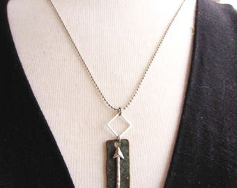 Silver Arrow Necklace, Silver Arrow Pendant, Silver Ball Chain, Long Necklace, Modern Pendant, Patina Rectangle, Redpeonycreations