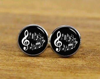 Musical notes cufflinks, musical notes gifts, personalized cufflinks, custom wedding cufflinks, round, square cufflinks, vintage cuff links