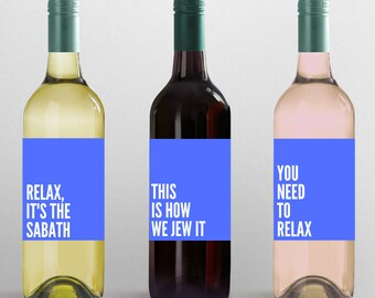 SHABBAT Wine Label Set- Shabbat decor - Funny shabbat decor - Shabbat shalom-  Shabbat set- Shabbat Art