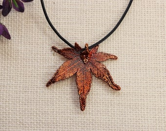 SALE Leaf Necklace, Copper Maple Leaf, Real Japanese Maple Leaf Necklace, Real Maple Leaf, Copper Leaf Pendant, SALE357