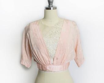 Victorian Silk Blouse - Cropped Bodice Pink Jacquard & Lace Antique Edwardian 1910s  - XXS