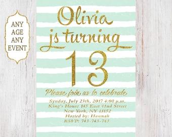 13th birthday invitations girl mint stripes gold glitter, 14th,15th,16th,17th,18th,19th, Any Age 03