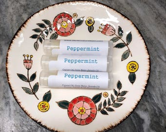 3 pack All natural handmade lip balm-Peppermint, lip moisturizer, lip balm, chap stick