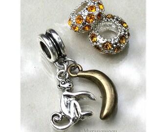 Monkey Dangle Charm Fit European Bracelet Large Big Hole Banana Monkey Charm Birthstone Add A Bead Make Your Own Jewelry Bracelet #DC1072