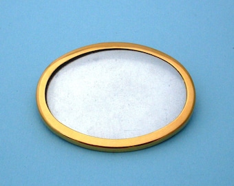 Gold Plated Oval Pin Setting Frame Mounting 104G