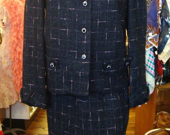 Vintage 1950's Charcoal Black and Pink Wool Crosshatch Suit * XS-S