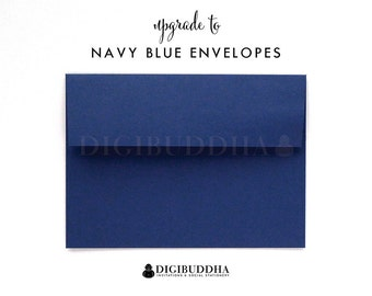 Upgrade to NAVY BLUE ENVELOPES Flat Matte Blue Add-On for any digibuddha Invitations or Thank You Cards. Wedding Bridal Shower Baby Shower