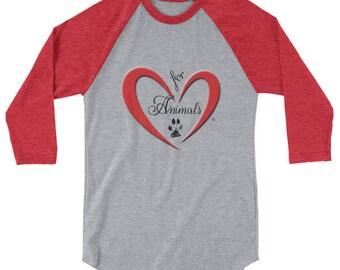Heart of Love for Animals - 3/4 sleeve raglan shirt