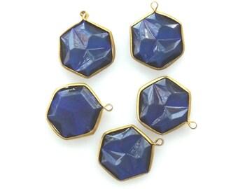 Brass Blue Channel Set Faceted Blue Crystal Acrylic Charms Hexagon Vintage Royal Blue Rivoli charm bead Set 1 Loop charm, 5