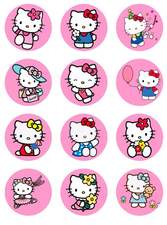 Hello kitty inspired cupcake toppers or stickers favor tags digital download 2 inch circles collage pdf instant printable labels