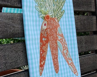 Carrot Towel Carrots Bunch Towel Farmers Market Towel Farm Style Towel Farmhouse Decor Garden Gardener Aqua Orange Green Towel