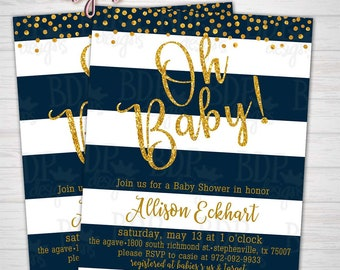 NAVY and Gold Glitter Oh Baby Shower Invitation Confetti Sparkles Stripes - Customized Digital Download (Details Below) Printable
