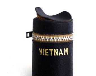 Vietnam Black Leather Film Case Vintage//35mm Film Canister